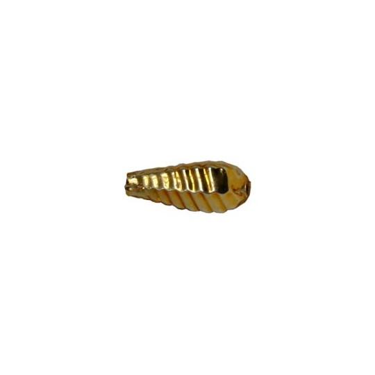 """10 Gold Ribbed Drop Blown Glass Beads .75"""" ~ Czech Republic"""