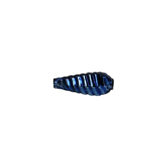 """10 Blue Ribbed Drop Blown Glass Beads .75"""" ~ Czech Republic"""