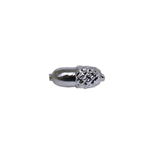 """8 Silver Acorn Blown Glass Beads .75"""" ~ Czech Republic"""