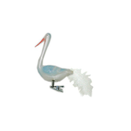 Blue Lauscha Glass Clipping Stork ~ Germany