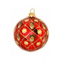 Red Blown Glass Ball with Santas