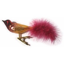 Plum Blown Glass Clipping Bird ~ Germany