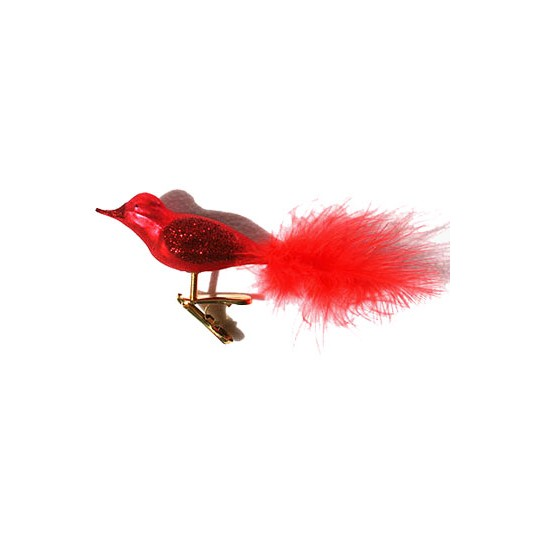 Red Blown Glass Clipping Bird ~ Germany