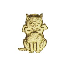 Gold Dresden Foil Kitty Cats ~ 12