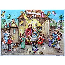 Angels at the Manger Vintage Style Advent Calendar