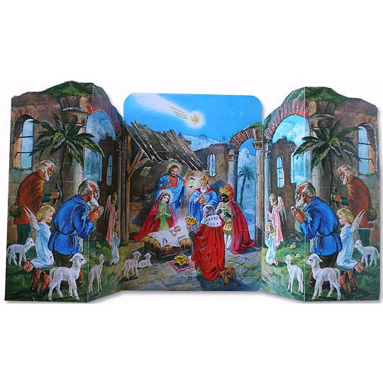 Standing Nativity Vintage Style Advent Calendar