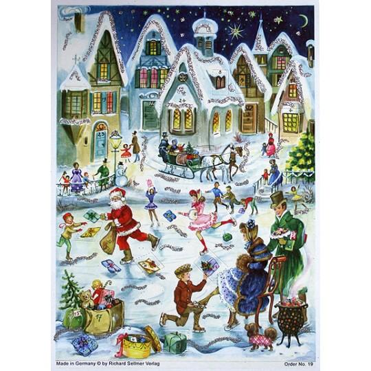 Ice Skating Santa Vintage Style Advent Calendar