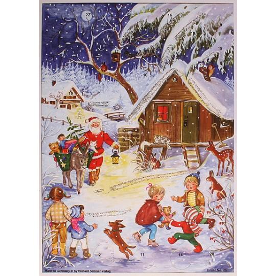 Santa with Burro Vintage Style Advent Calendar