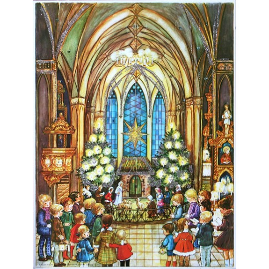 Children in Church Vintage Style Advent Calendar ~ Bible Verses