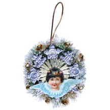 Angel Bottle Brush Wreath ~ Blue