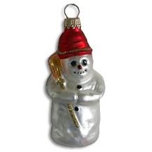 "Red Cap Blown Glass Snowman ~ Germany ~ 3-1/2"" tall"