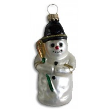"Black Cap Blown Glass Snowman ~ Germany ~ 3-1/2"" tall"