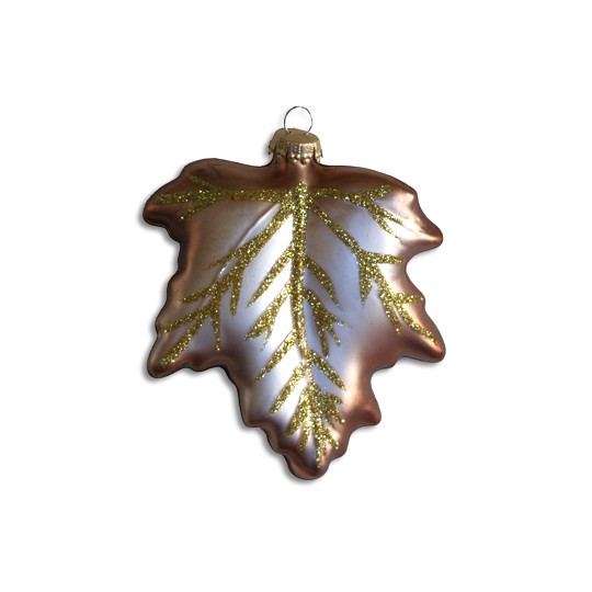 "Brown Blown Glass Leaf ~ Germany ~ 4-1/4"" tall"