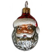 "Blown Glass Santa Head Ornament ~ Poland ~ 2-1/2"" tall"