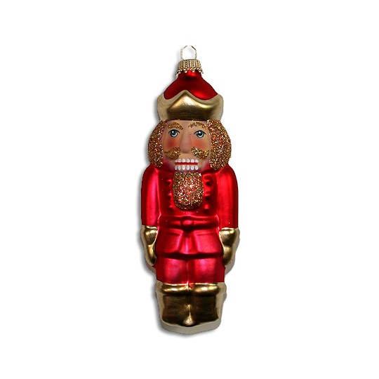 "Matte Red Lauscha Glass Nutcracker ~ Germany ~ 5-1/2"" tall"