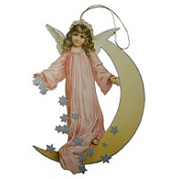 Angel & Moon Ornament Card ~ Pink