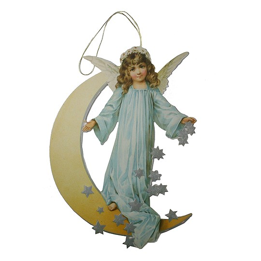 Angel & Moon Ornament Card ~ Blue