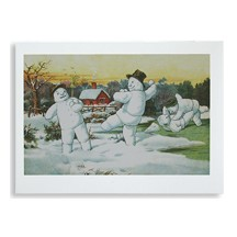 Snowman Snowball Fight Christmas Card