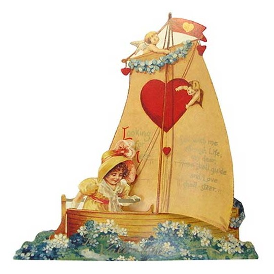 Victorian Sailboat Valentine Card