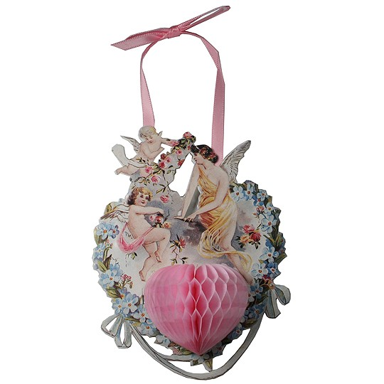Hanging Angel Valentine Card with Honeycomb Heart