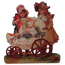 Victorian Easter Girls Easel Back Card