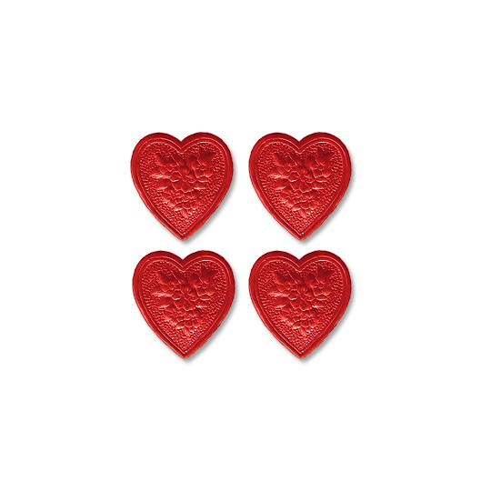 Red Dresden Foil Floral Hearts ~ 20