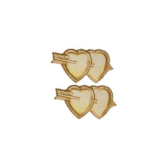 Gold Dresden Foil Double Hearts ~ 12