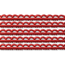 Red Scalloped Petite Dresden Foil Trim ~ 3/16""
