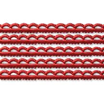 "Red Scalloped Petite Dresden Foil Trim ~ 3/16"""
