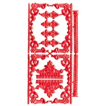 Red Dresden Foil Fancy Embellishments
