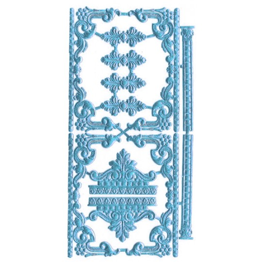 Steel Blue Dresden Foil Fancy Embellishments