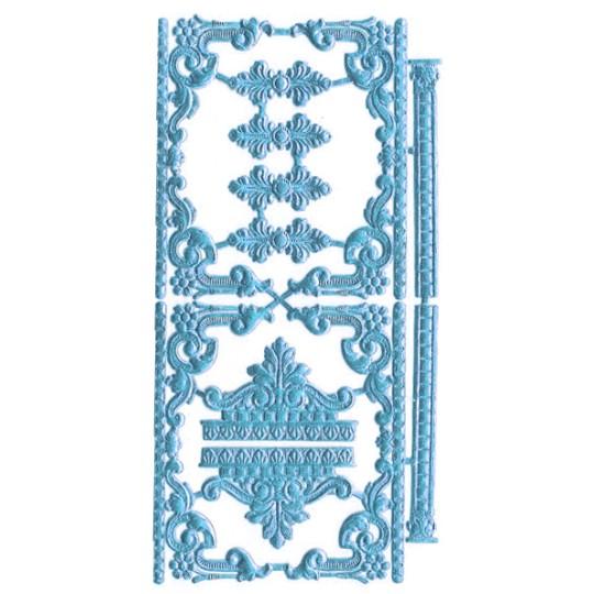 Steel Blue Dresden Foil Fancy Embellishments