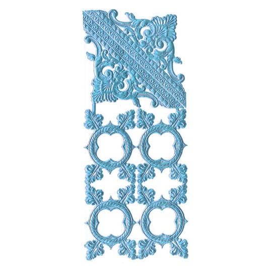 Steel Blue Dresden Foil Fancy Frames & Corners