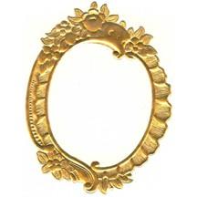 Large Antique Gold Floral Dresden Foil Frame ~ 1