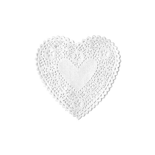 10 White Heart Doilies ~ 4""