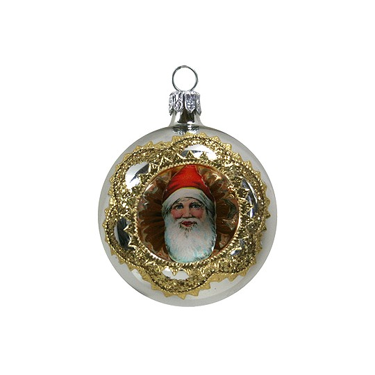 Elaborate Silver Santa Indent Ornament