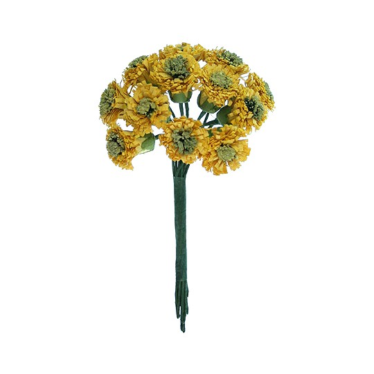 12 Dark Yellow Paper Asters