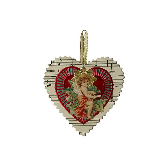 Small Valentine Angel Heart Ornament