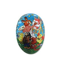 """3 1/2'"""" Papier Mache Bunny & Animals Easter Egg Container ~ Germany"""