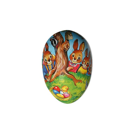 "4 1/2"" Papier Mache Bunny Family Easter Egg Container ~ Germany"