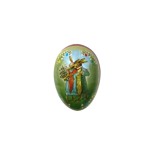 "3 1/2"" Papier Mache Bunny Love Easter Egg Container ~ Germany"