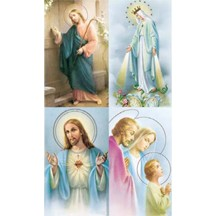 Jesus & Mary Lithographed Prayer Cards ~ Italy