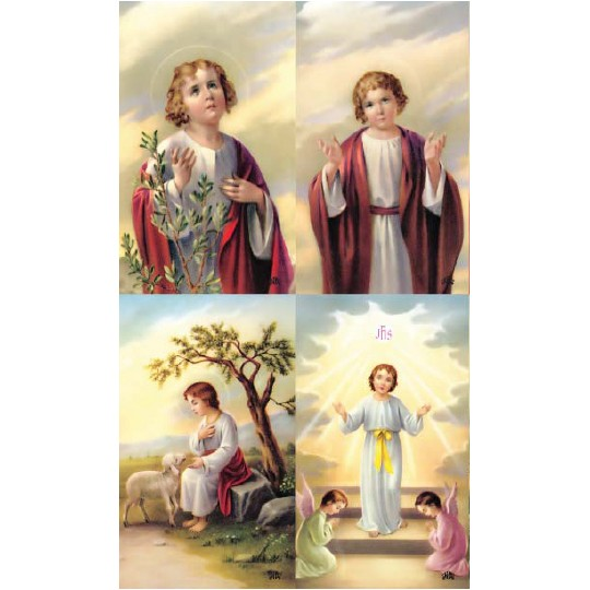 Young Jesus Lithographed Prayer Cards ~ Italy
