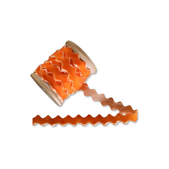 Velvet Ric Rac Ribbon Trim in Orange
