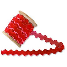 Velvet Ric Rac Ribbon Trim in Soft Red