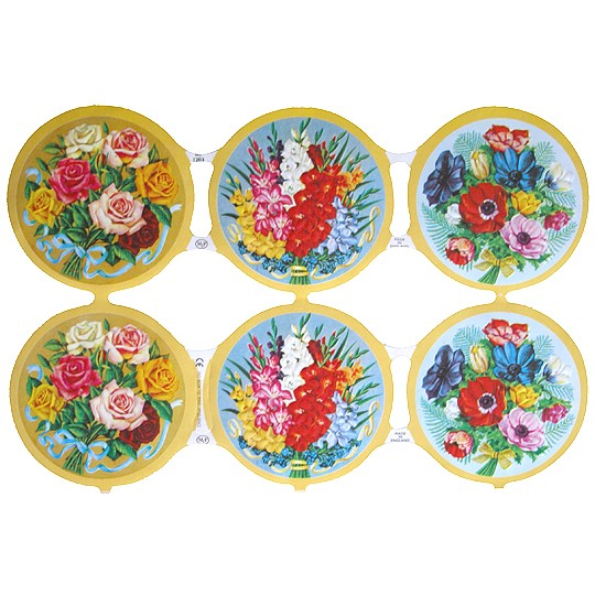 Flower Bouquet Medallion Scraps ~ England