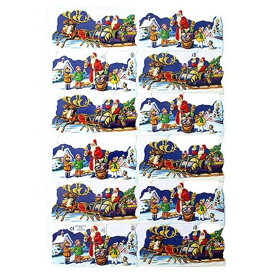 Santas Sleigh & Children Christmas Scraps ~ England