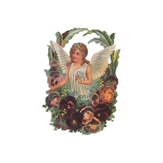Large Angel with Pansies Scrap ~ Germany