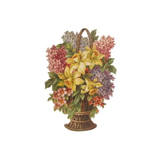 Large Springtime Flower Basket Scrap ~ Germany