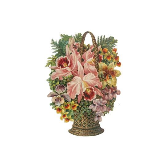 Large Orchid Flower Basket Scrap ~ Germany